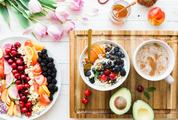 Delicious Breakfast Composition with Fruits and Flowers