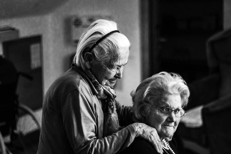 Black & White Photo of Two Old Woman