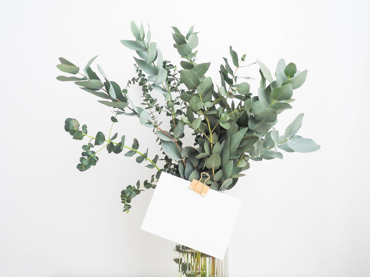 Green Bouquet in Glass Vase with Empty Card