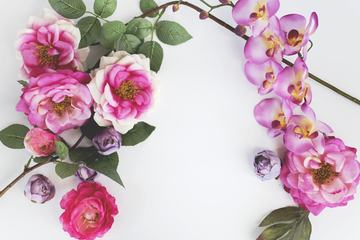 Pink Roses and Orchid Flowers on White Background