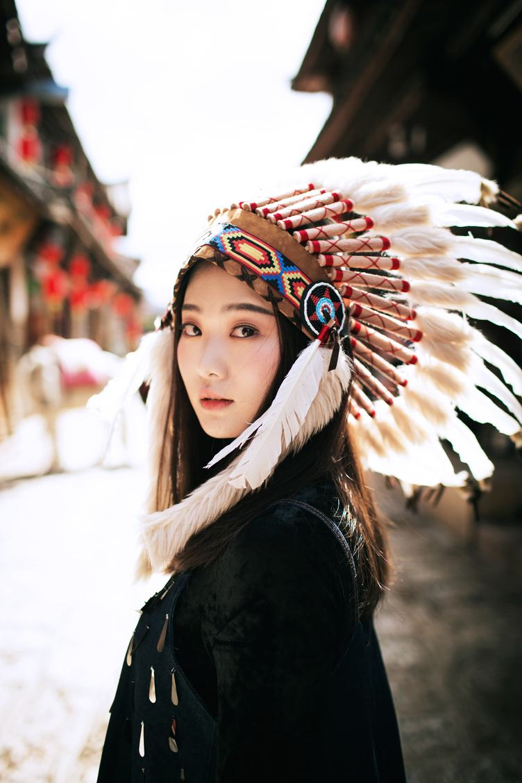 free photo beautiful girl native american indian