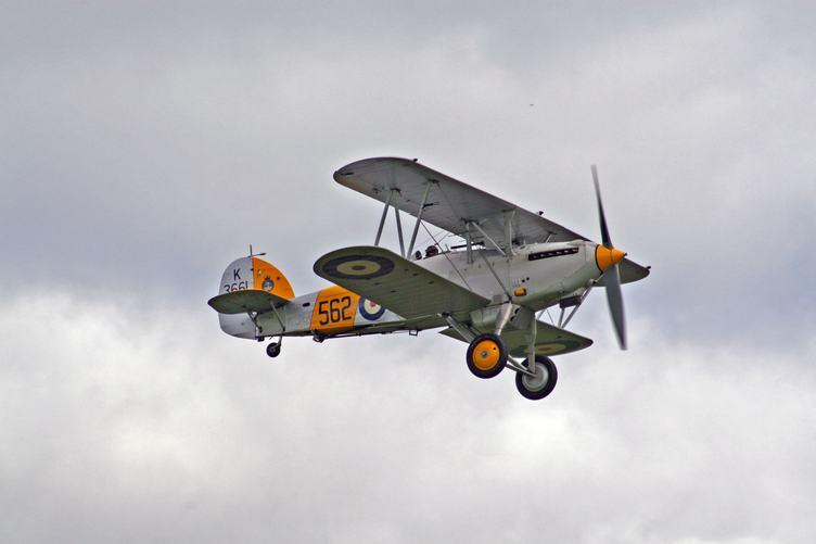 Gray Biplane Flying