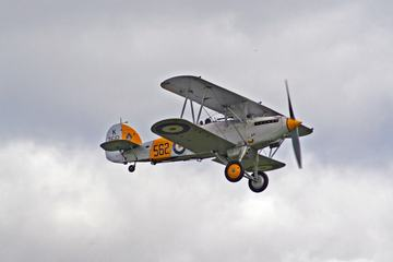 Gray Biplane Flying