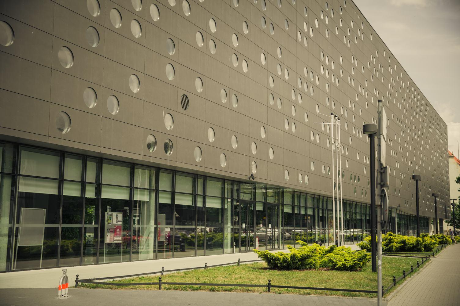 Modern Dark Building with Round Windows