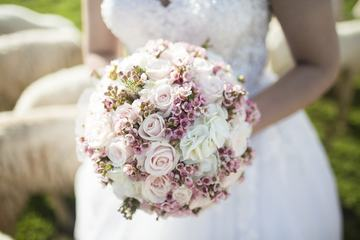Beautiful Wedding Bouquet in Bride's Hands