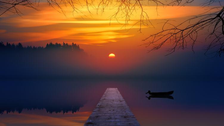 Pier at the Lake at Sunset