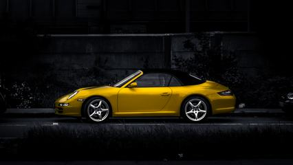Yellow Porsche on Dark Background, Expensive Car