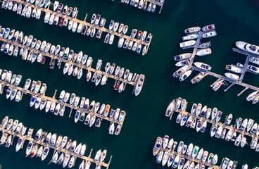 Marina with Small Boats and Yachts, Aerial View