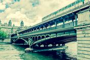 Train Passing on Famous Pont De Bir-Hakeim Bridge, Paris