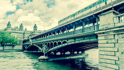 Train Passing on Famous Pont De Bir-Hakeim Bridge, Paris