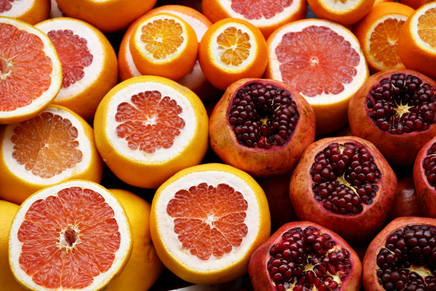 Citrus Fruits Half Cut Orange, Grapefruit, Pomegranate