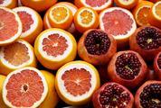 Citrus Fruits Half Cut Orange, Grapefruit, Pomegranate