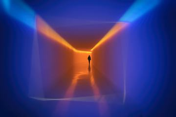 Person Passing Through the Tunnel