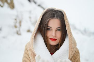 Winter Portrait of Young Beautiful Brunette Woman