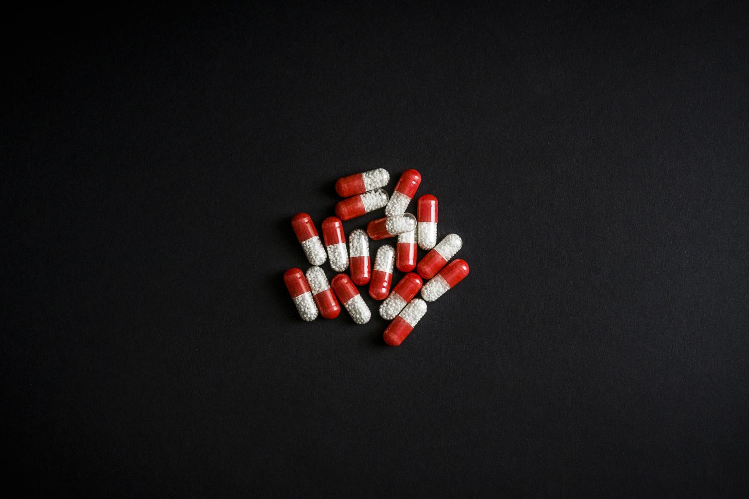 Medicine Pills Red and White Capsules