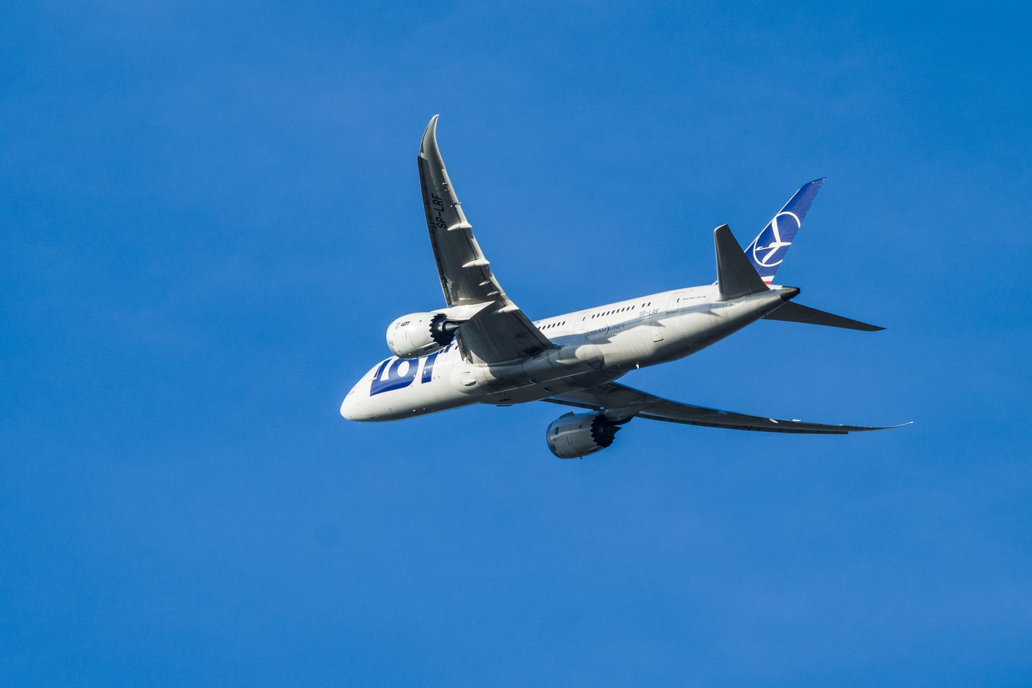 LOT Polish Airlines Boeing 787 Dreamliner in the Blue Sky