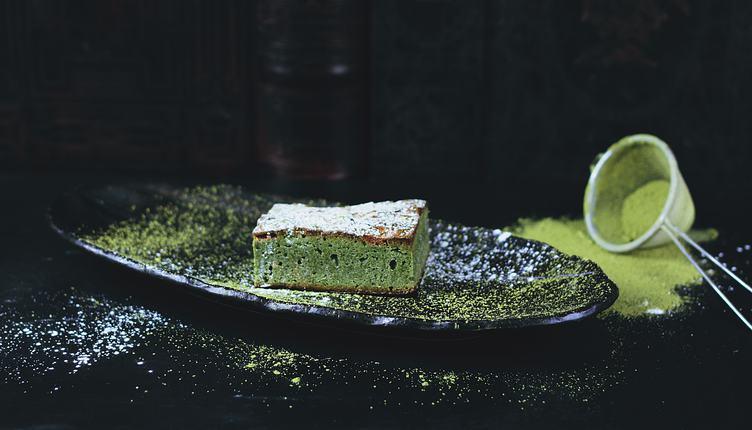 Japanese Matcha Green Tea Cheesecake on Black Plate, Healthy Dessert