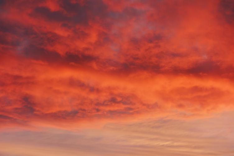 Red Sky with Clouds at Sunset