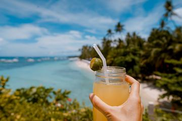 Summer Drink, Tropical Beach on Background