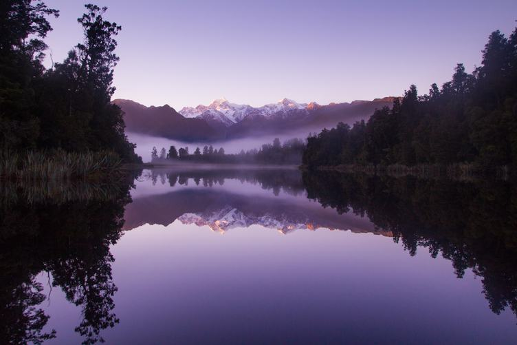 Mountain Landscape Morning at Matheson Lake, New Zealand