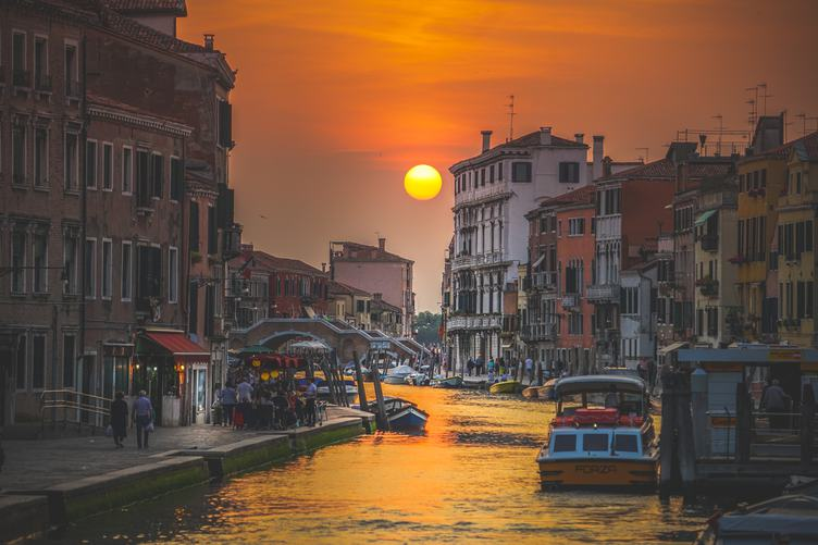 Sunset at Canal, European City