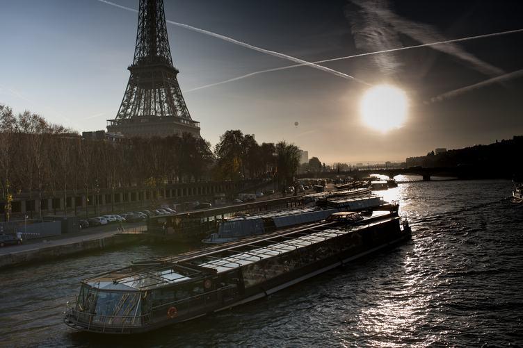 Paris Waterfront at Sunset