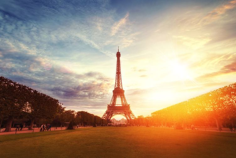 Eiffel Tower View from Champ De Mars in Paris