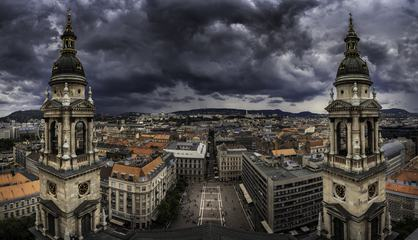 Panoramic View from St. Stephen's Basilica in Budapest, Hungary