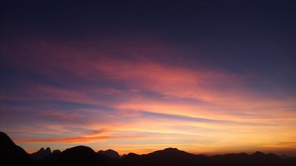 Silhouette Panoramic Mountain Landscape at Sunset