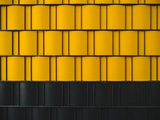 Metal Fence with Yellow and Black Elements