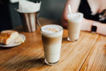 Latte Macchiato Coffee on Wooden Table