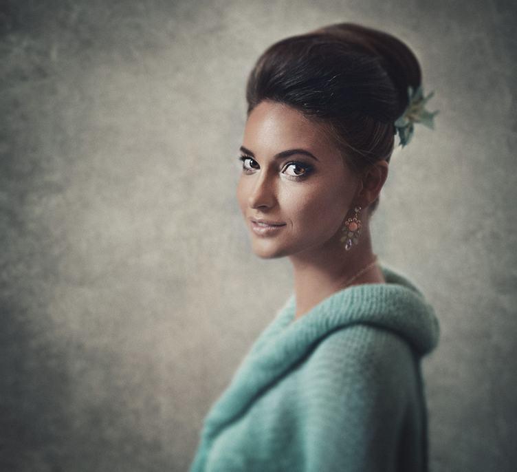 Beautiful Woman Portrait in Retro Style