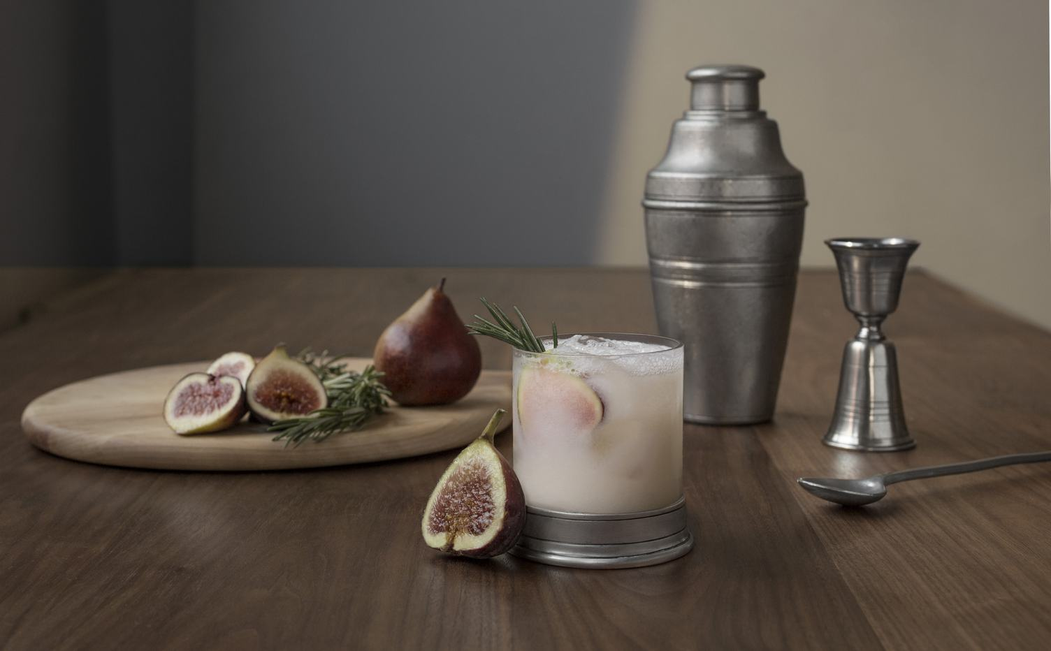Still Life Drink with Figs and Rosemary