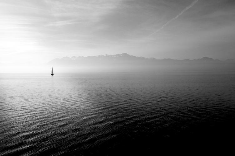 Sailboat in a Calm Sea Black and White Photo
