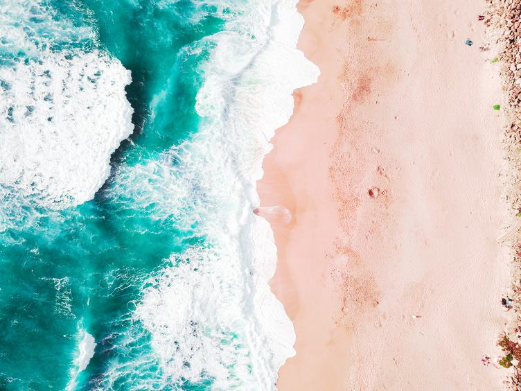 Top View of Beach with Turquoise Sea Water, Aerial Drone Shot