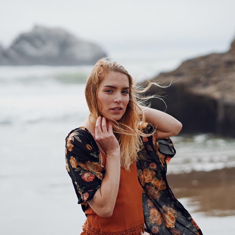 Blonde on the Beach, Wind Fluttering Hair