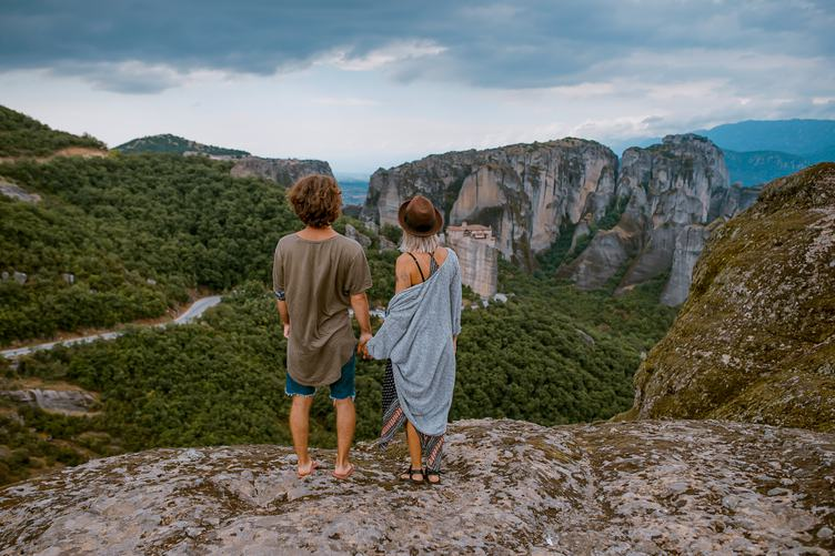 Couple Enjoying Outstanding View of Meteora Mountains, Greece