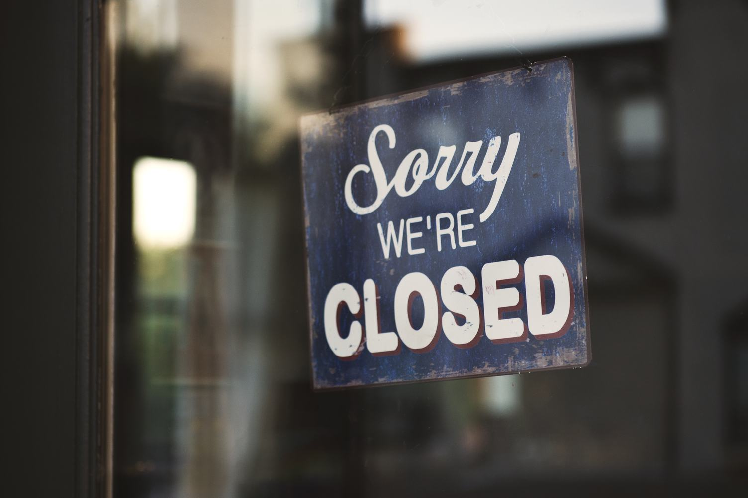 Shop Glass Door with Sign Closed