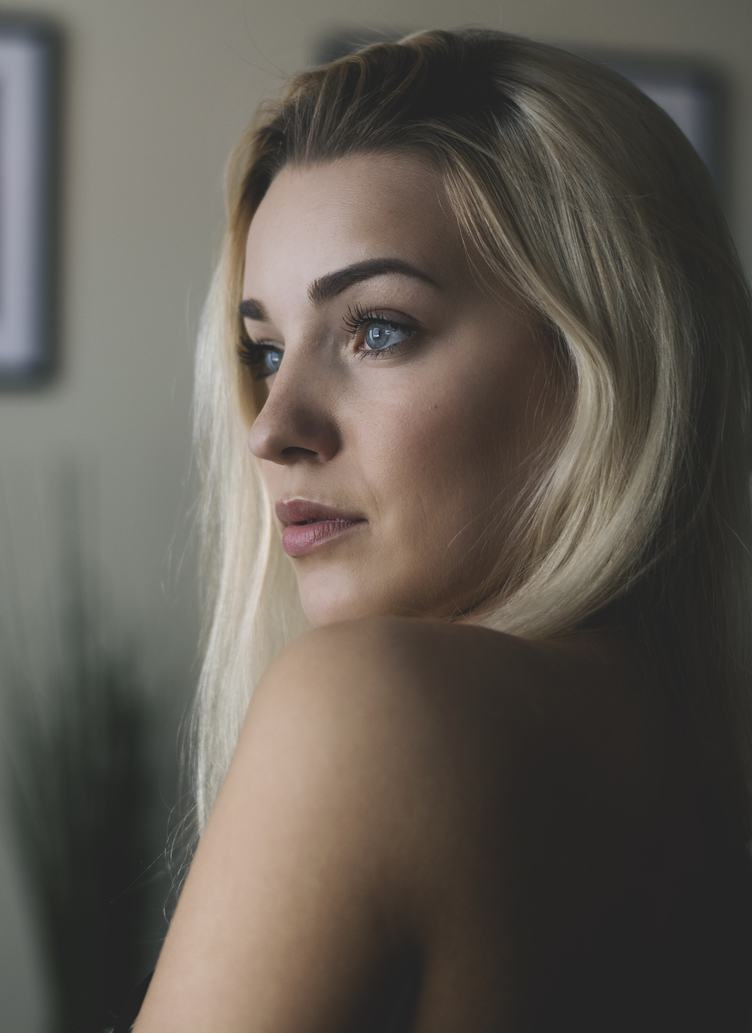 Portrait of Sensual Blonde Haired Woman