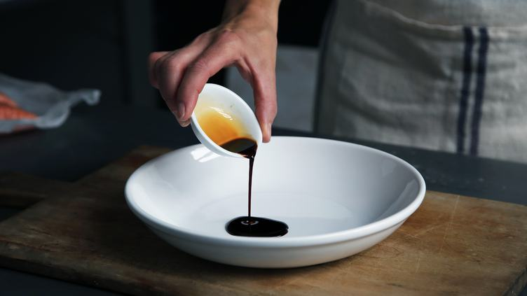 Chef Putting Sweet Soy Sauce