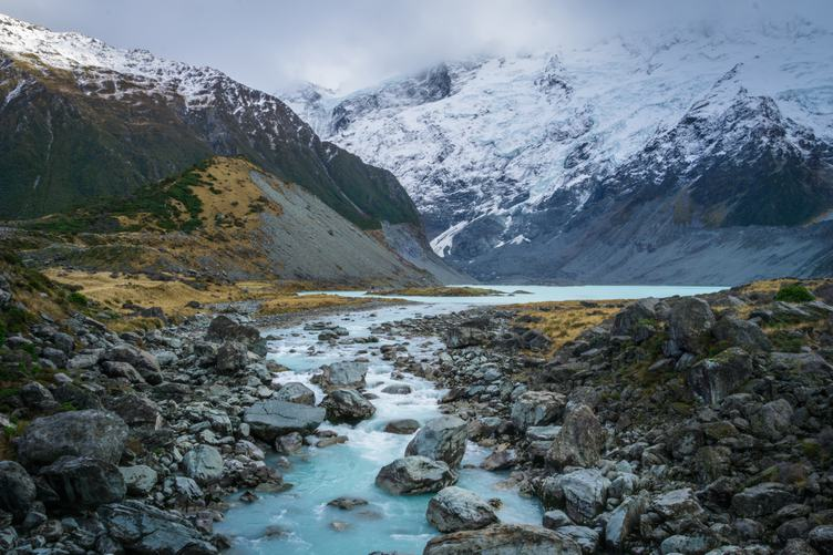 Hooker Lake at the Bottom of Mount Cook, New Zealand