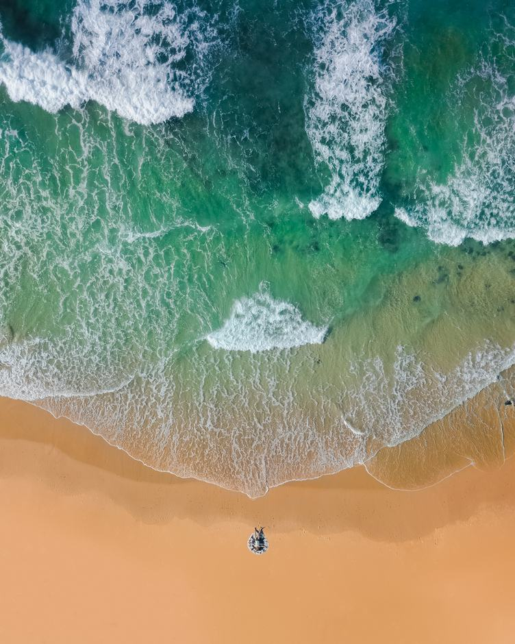Aerial Drone Shot of Beautiful Sand Beach with Turquoise Sea Water