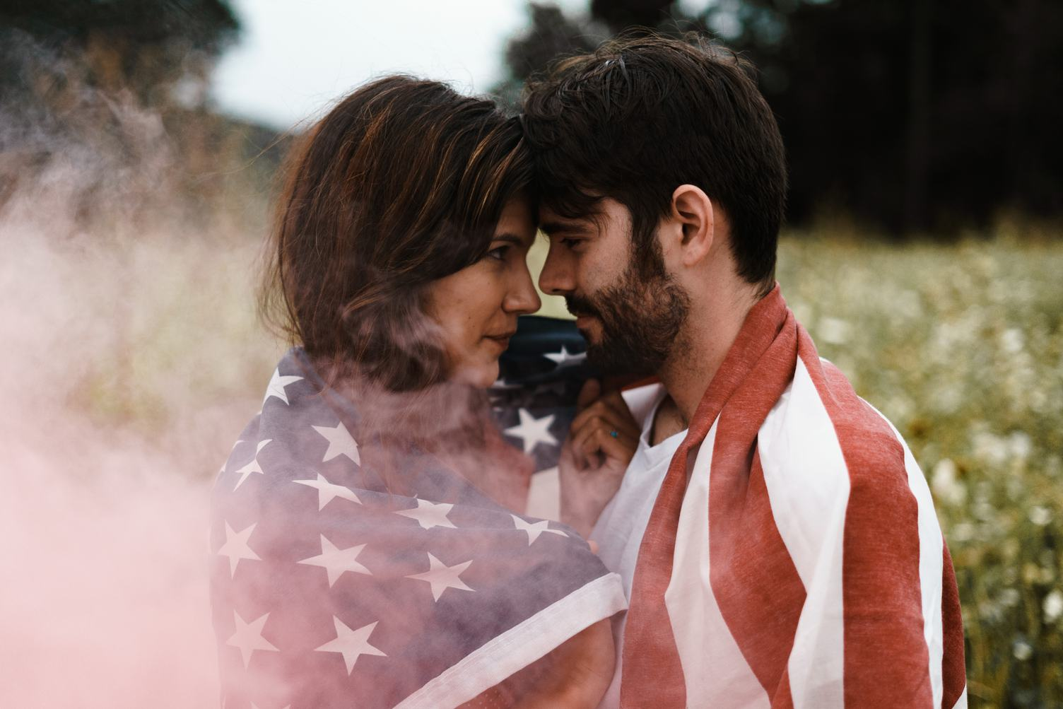 Couple Wrapped in a US Flag