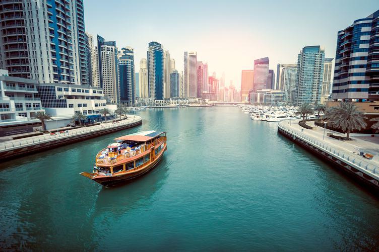 Orange Boat in Dubai Marina