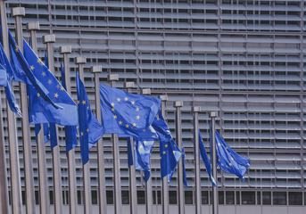 EU Flags in Front of European Commission, Brussels