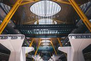 Airport Futuristic Interior, Barajas, Madrid, Spain