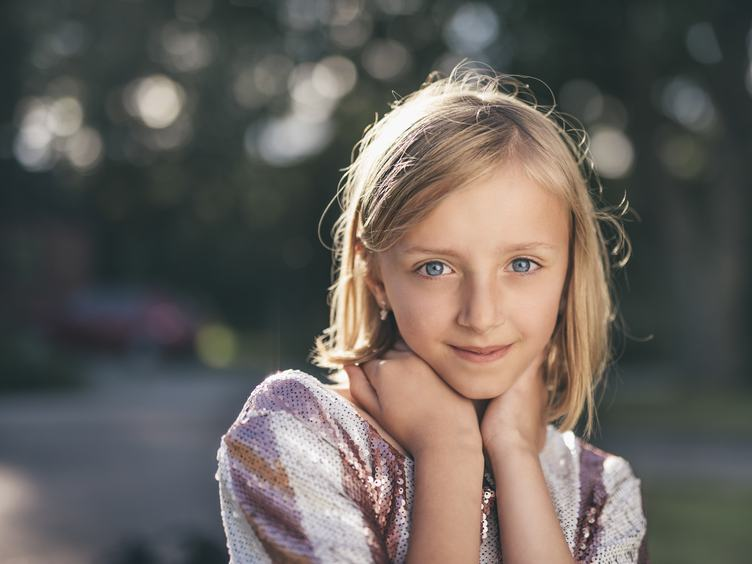 Pretty Smiling Girl Portrait Outdoors