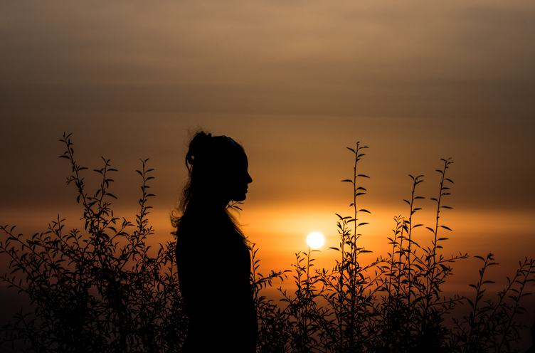 Silhouette of Woman among Plants at Sunset