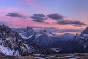 Panorama of Dolomites Mountains at Sunset