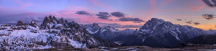 Panorama of Dolomites Mountains at Sunset